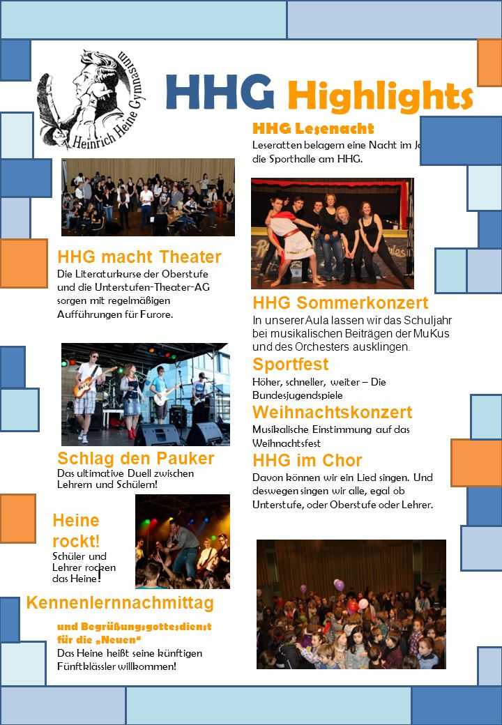HHG Highlights HHG Sommerkonzert Sportfest HHG macht Theater