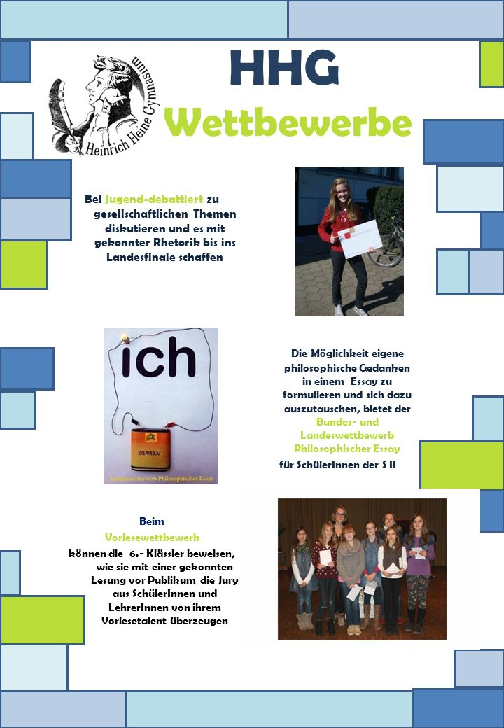 HHG Wettbewerbe Bei Jugend-debattiert zu gesellschaftlichen Themen diskutieren und es mit gekonnter Rhetorik bis ins Landesfinale schaffen.