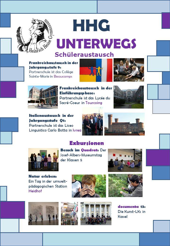 HHG UNTERWEGS Schüleraustausch Exkursionen