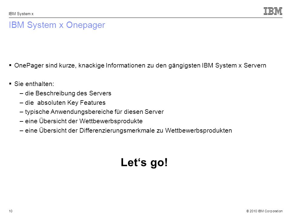 Let's go! IBM System x Onepager