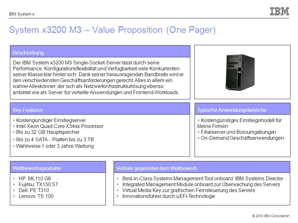 System x3200 M3 – Value Proposition (One Pager)
