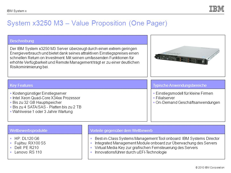 System x3250 M3 – Value Proposition (One Pager)
