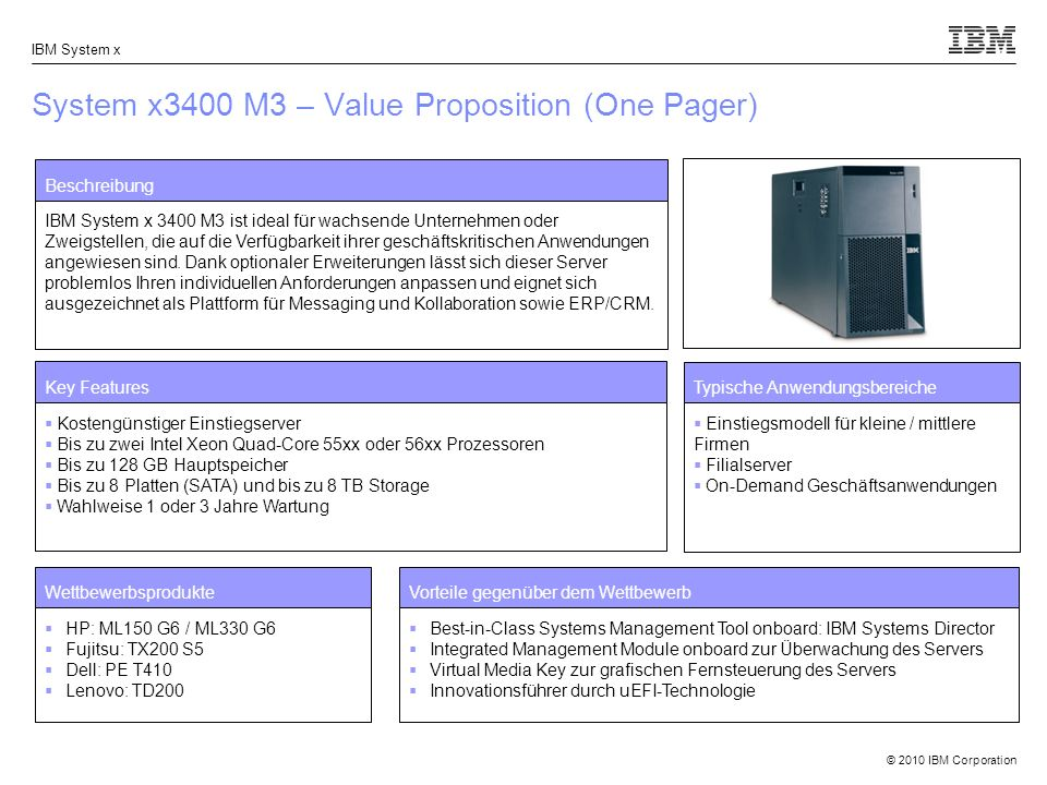 System x3400 M3 – Value Proposition (One Pager)