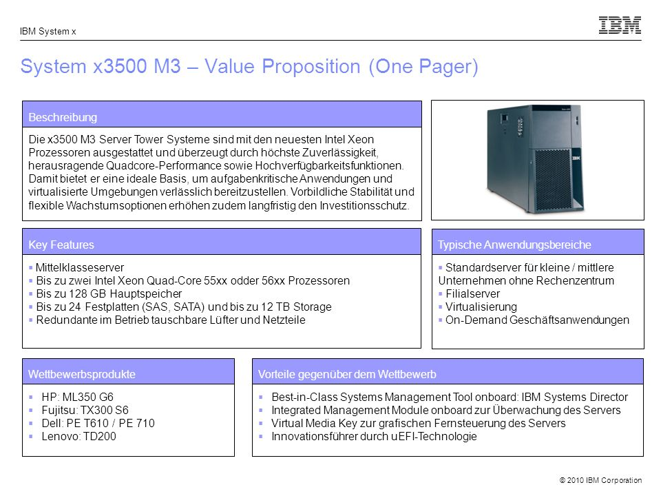 System x3500 M3 – Value Proposition (One Pager)