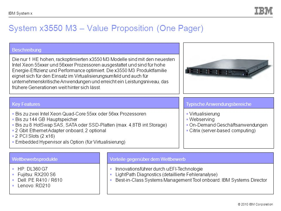 System x3550 M3 – Value Proposition (One Pager)