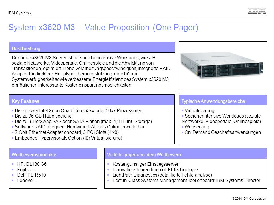 System x3620 M3 – Value Proposition (One Pager)