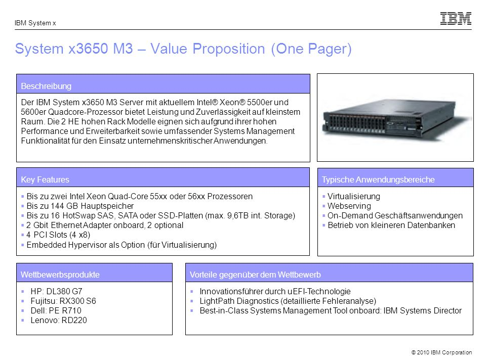 System x3650 M3 – Value Proposition (One Pager)