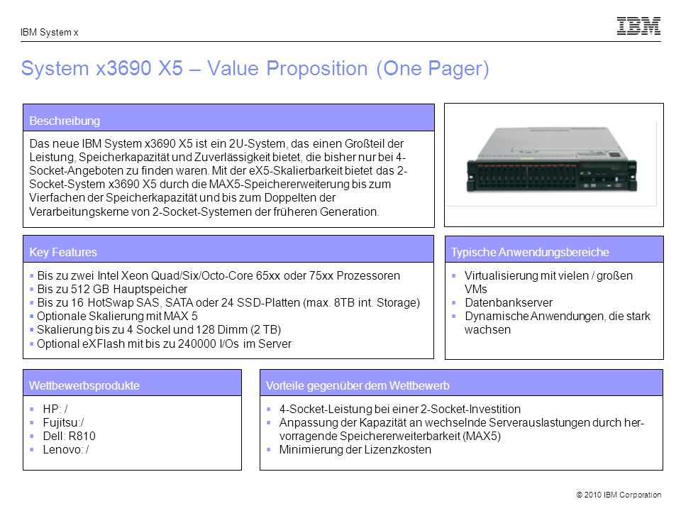 System x3690 X5 – Value Proposition (One Pager)