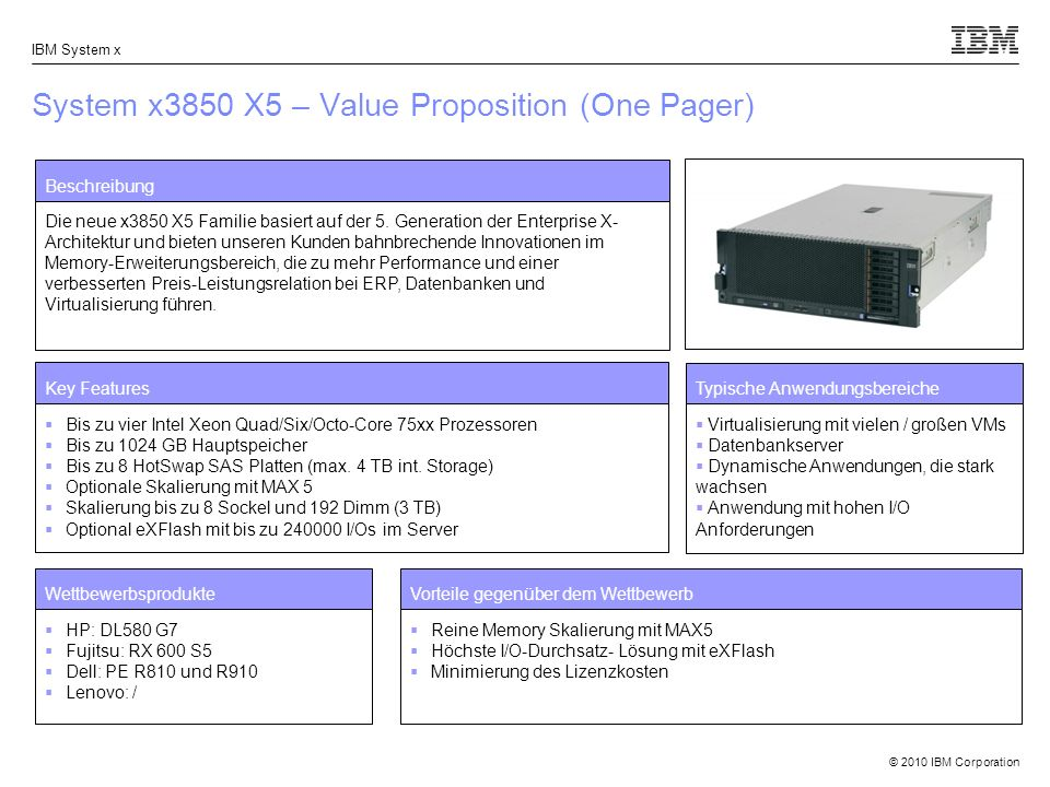 System x3850 X5 – Value Proposition (One Pager)
