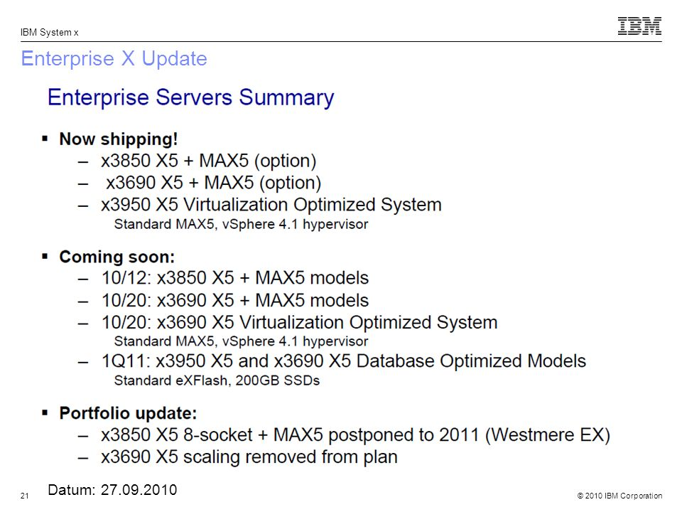 Enterprise X Update Datum: 27.09.2010