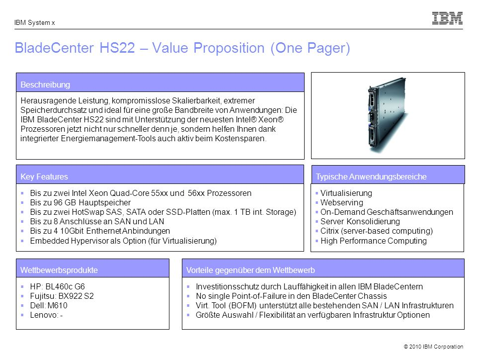 BladeCenter HS22 – Value Proposition (One Pager)