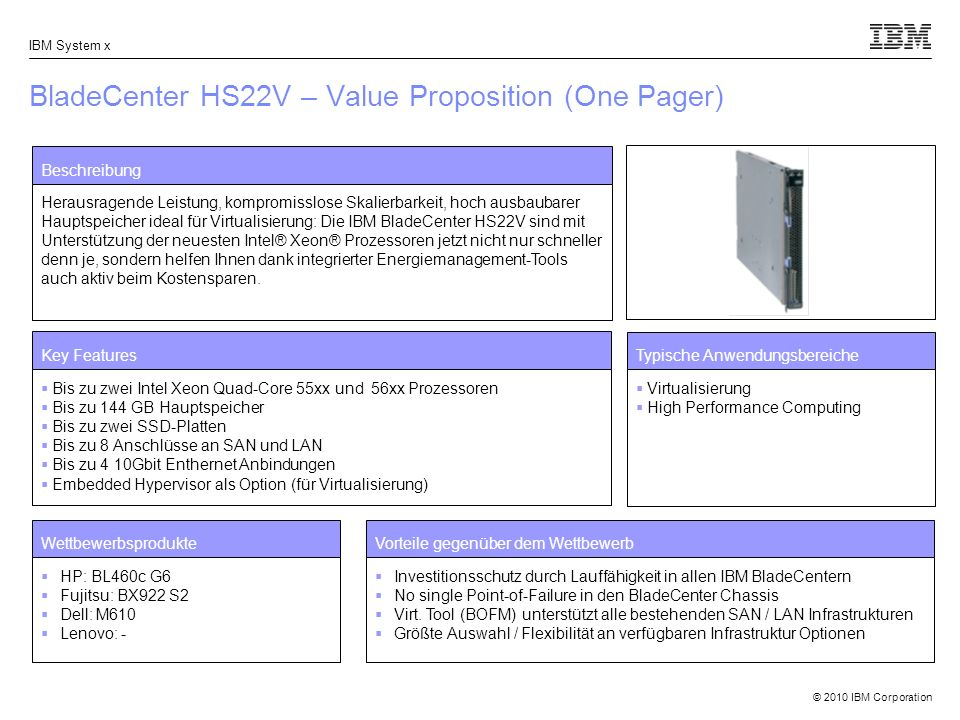 BladeCenter HS22V – Value Proposition (One Pager)