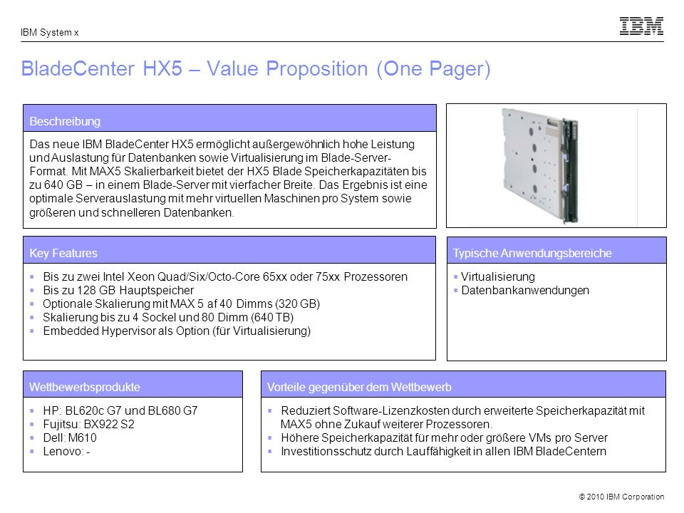 BladeCenter HX5 – Value Proposition (One Pager)