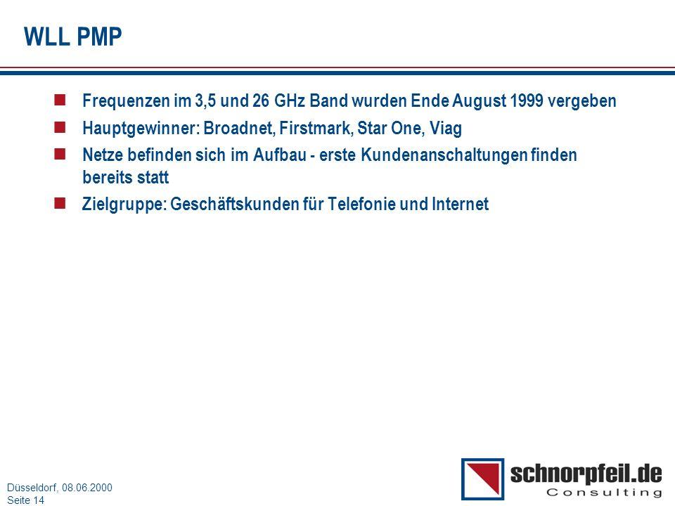 WLL PMP Frequenzen im 3,5 und 26 GHz Band wurden Ende August 1999 vergeben. Hauptgewinner: Broadnet, Firstmark, Star One, Viag.
