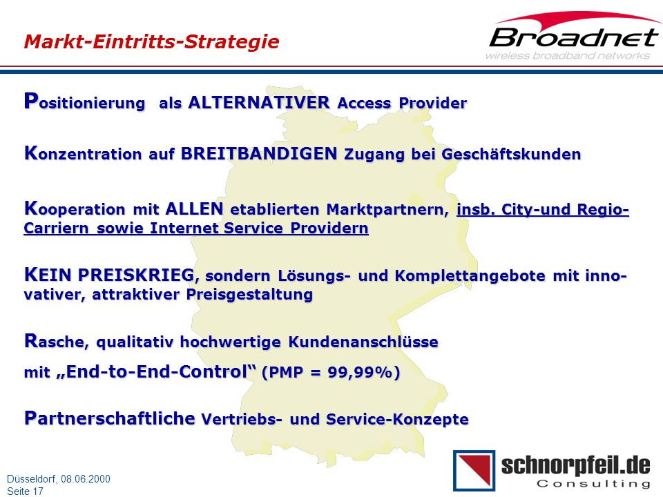Positionierung als ALTERNATIVER Access Provider