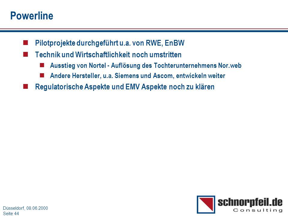 Powerline Pilotprojekte durchgeführt u.a. von RWE, EnBW