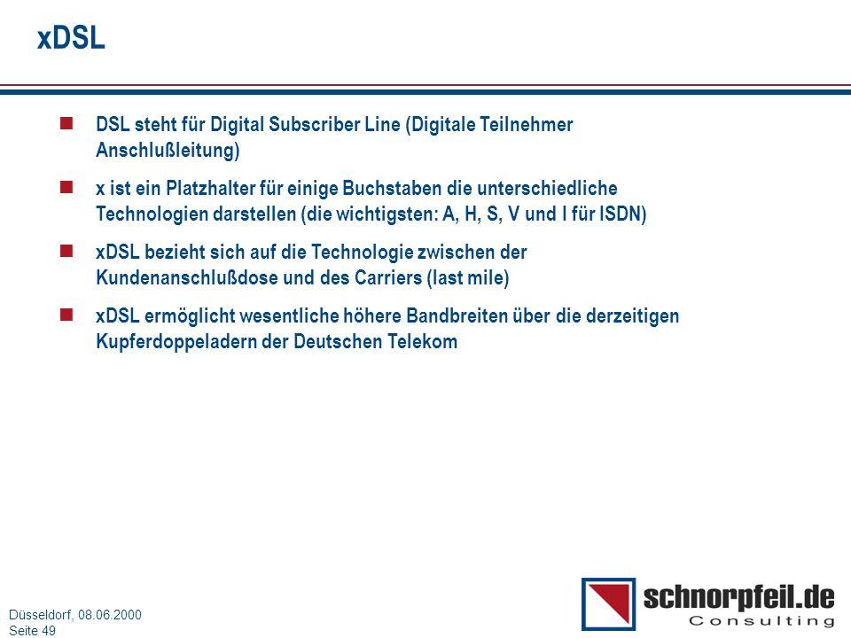 xDSL DSL steht für Digital Subscriber Line (Digitale Teilnehmer Anschlußleitung)