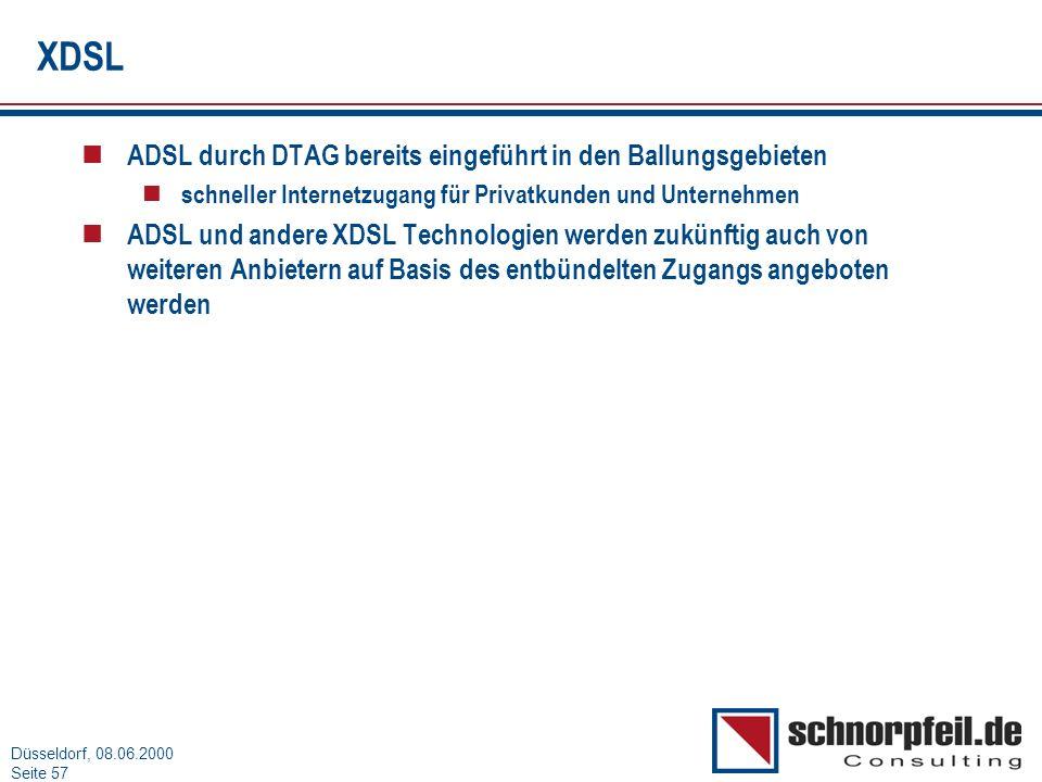 XDSL ADSL durch DTAG bereits eingeführt in den Ballungsgebieten