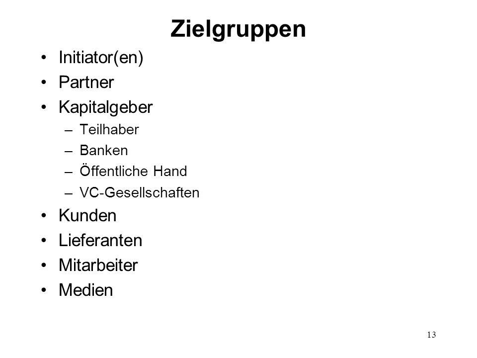 Zielgruppen Initiator(en) Partner Kapitalgeber Kunden Lieferanten