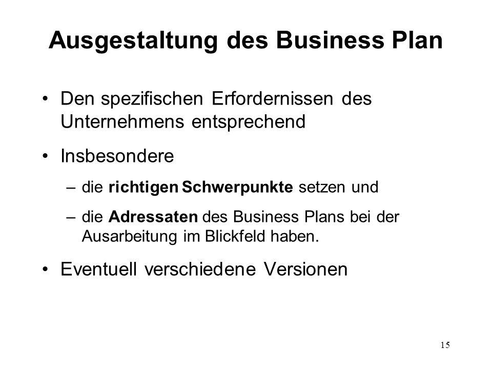 Ausgestaltung des Business Plan