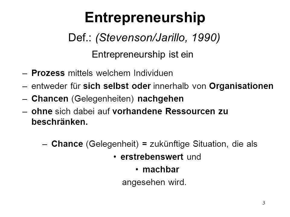Entrepreneurship Def.: (Stevenson/Jarillo, 1990)