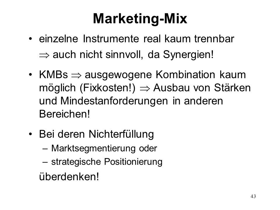 Marketing-Mix einzelne Instrumente real kaum trennbar