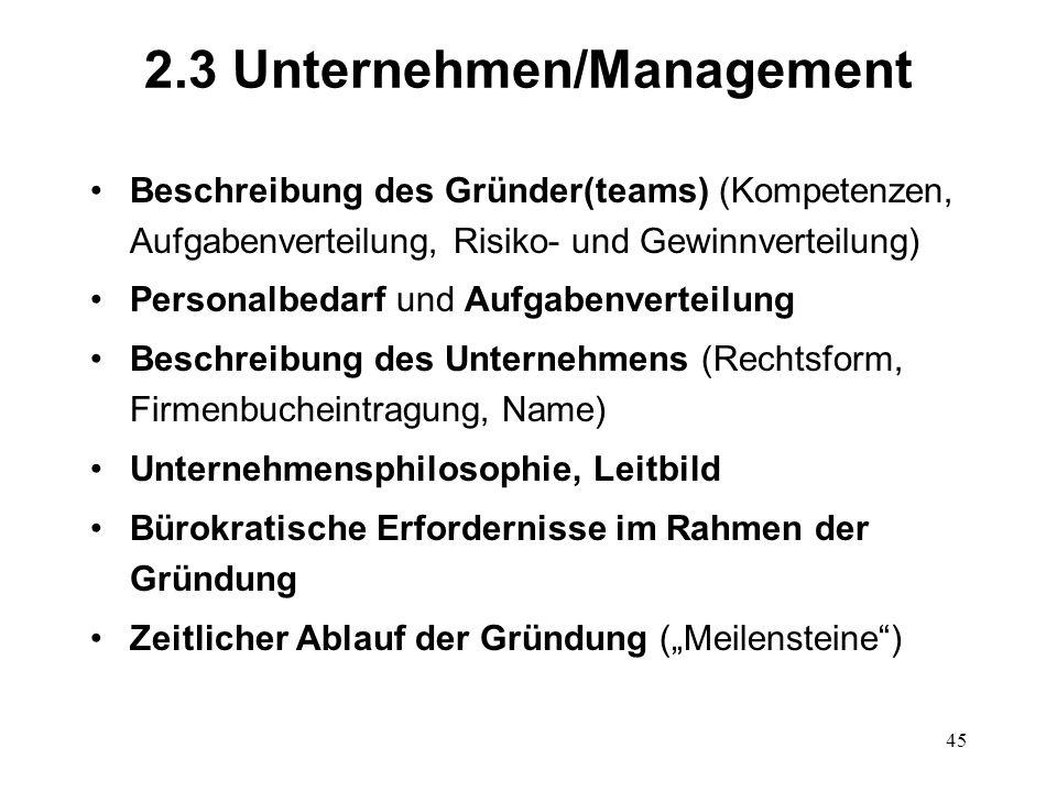 2.3 Unternehmen/Management