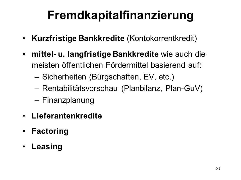 Fremdkapitalfinanzierung