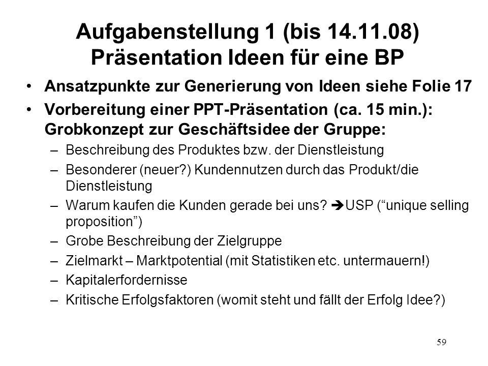 Aufgabenstellung 1 (bis 14.11.08) Präsentation Ideen für eine BP