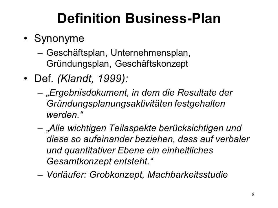 Definition Business-Plan