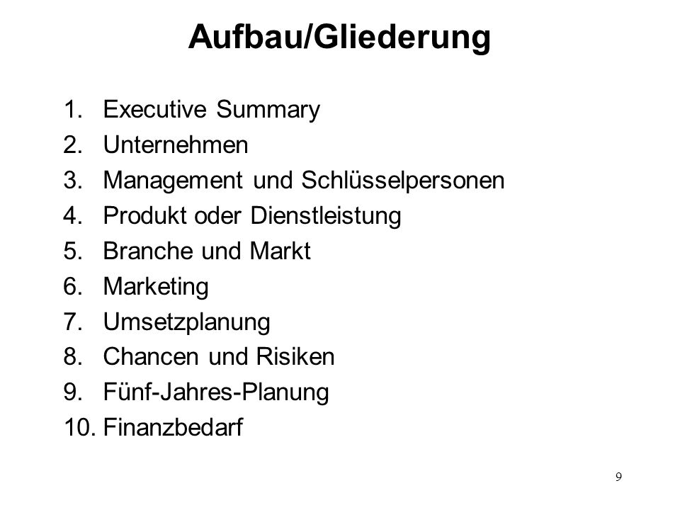 Aufbau/Gliederung Executive Summary Unternehmen