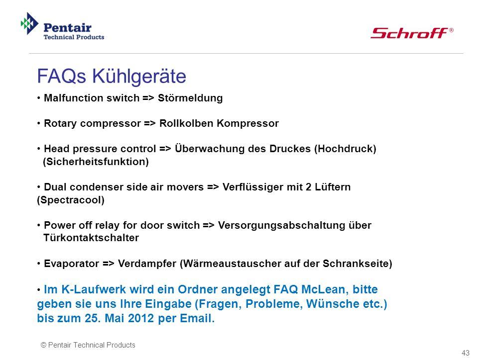 FAQs Kühlgeräte Malfunction switch => Störmeldung