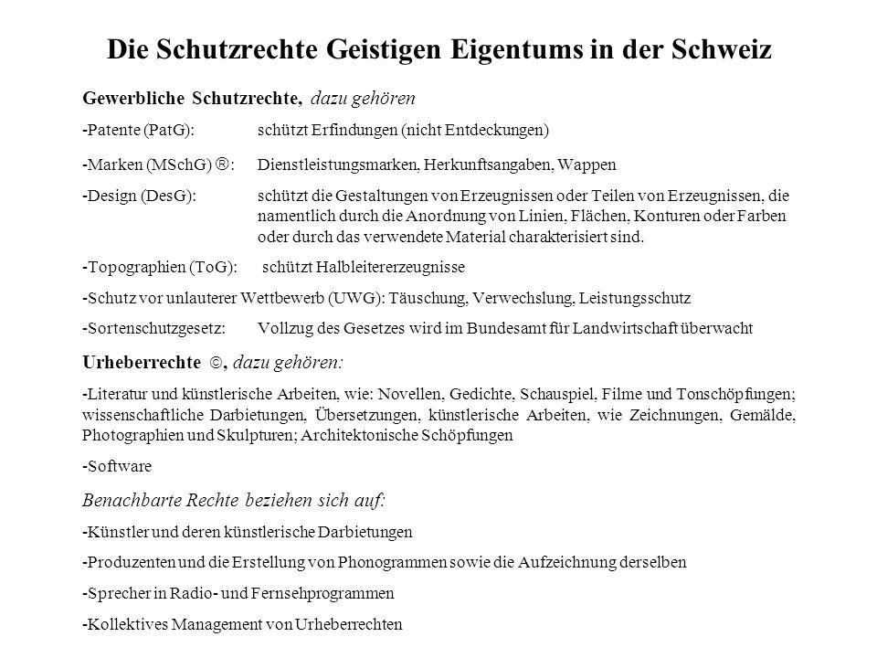 Die Schutzrechte Geistigen Eigentums in der Schweiz