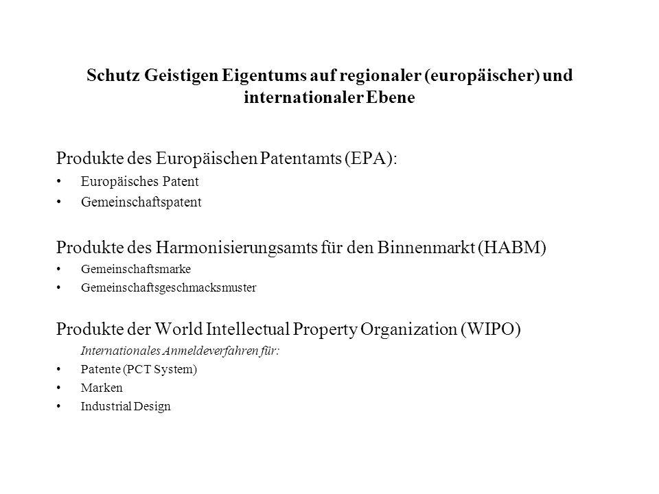 Produkte des Europäischen Patentamts (EPA):