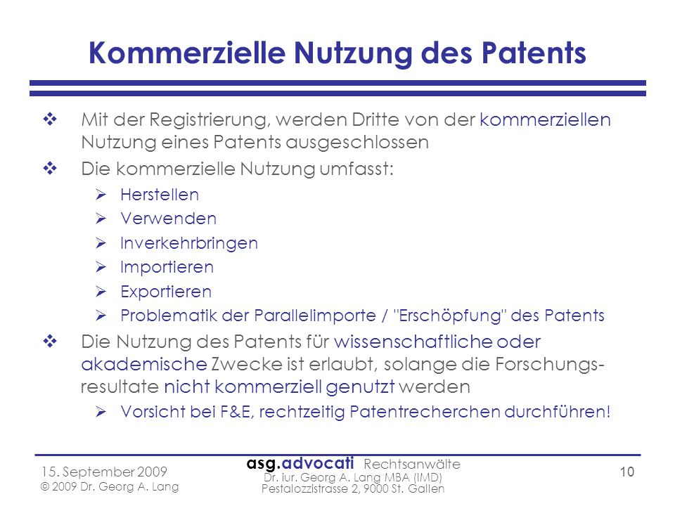 Kommerzielle Nutzung des Patents
