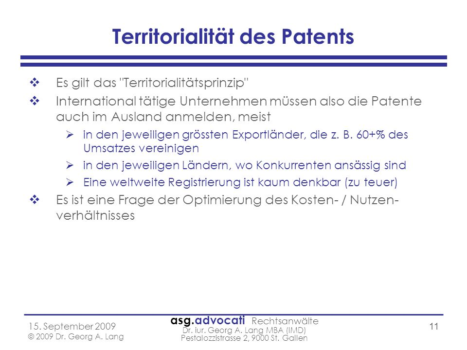 Territorialität des Patents