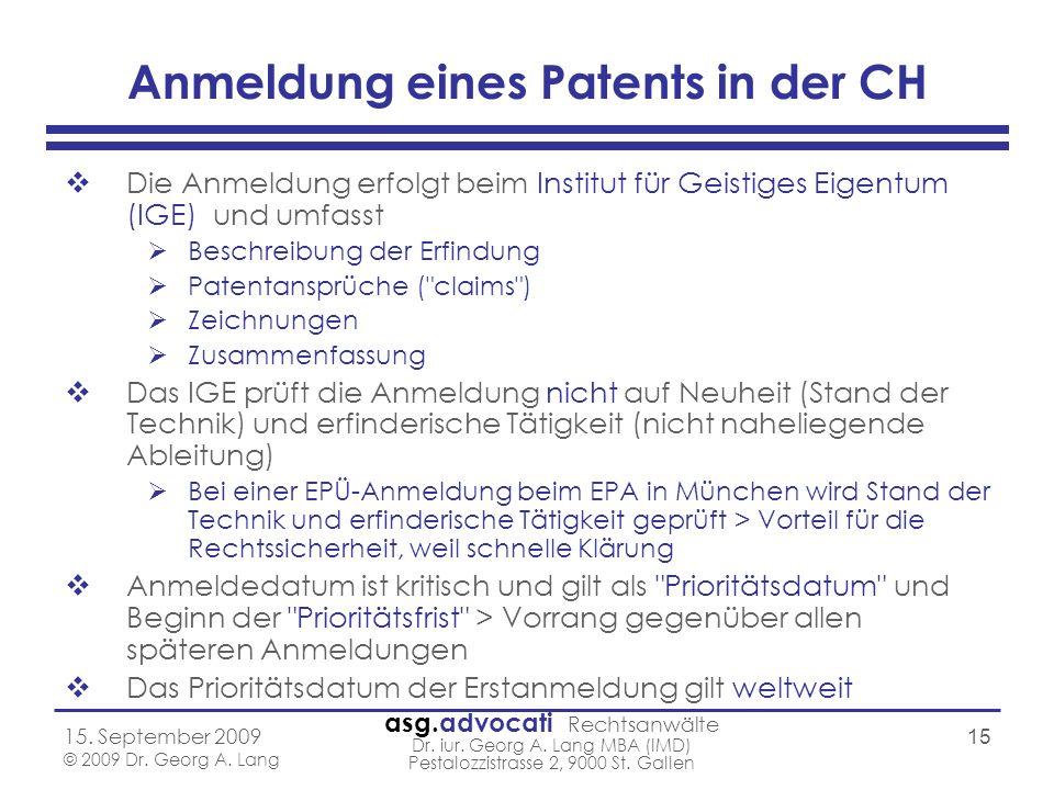 Anmeldung eines Patents in der CH
