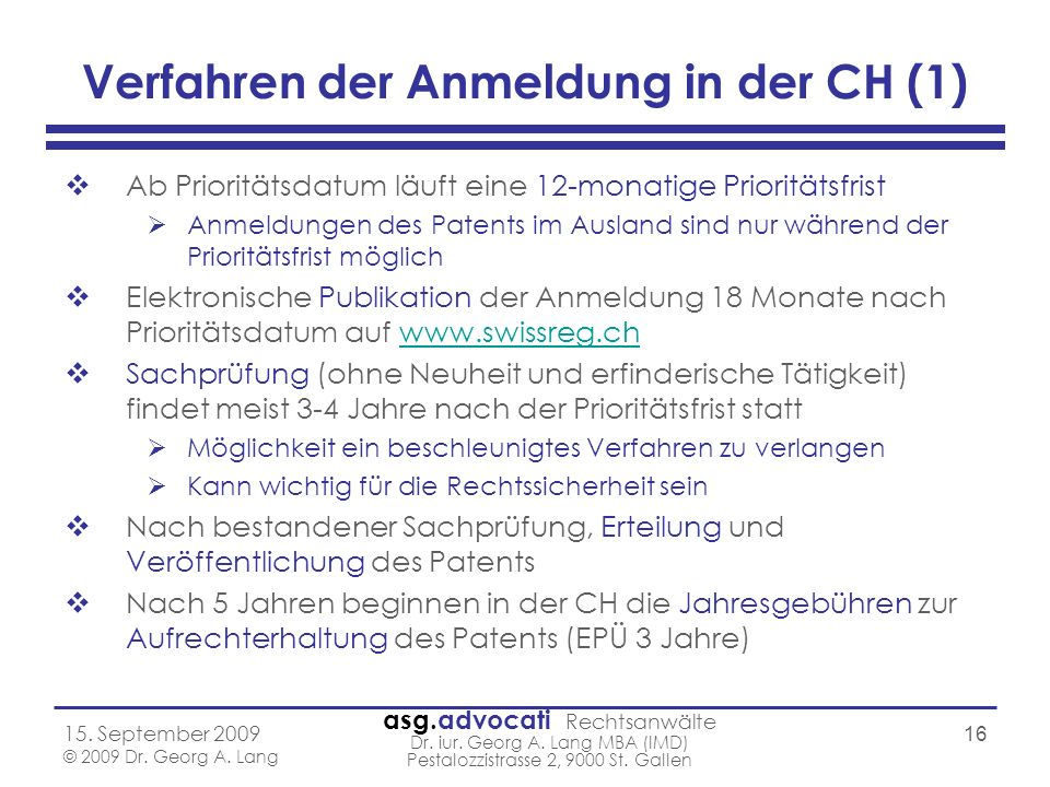 Verfahren der Anmeldung in der CH (1)