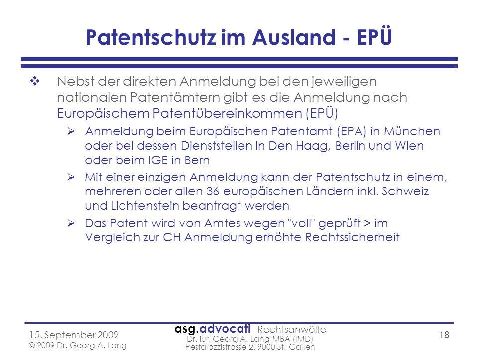 Patentschutz im Ausland - EPÜ