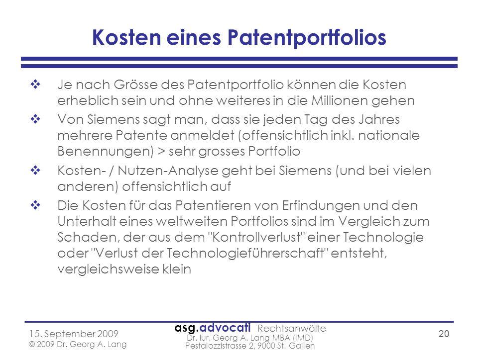 Kosten eines Patentportfolios