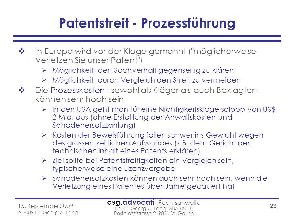 Patentstreit - Prozessführung