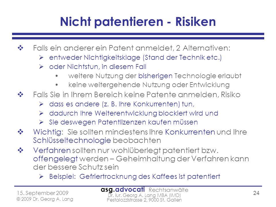 Nicht patentieren - Risiken