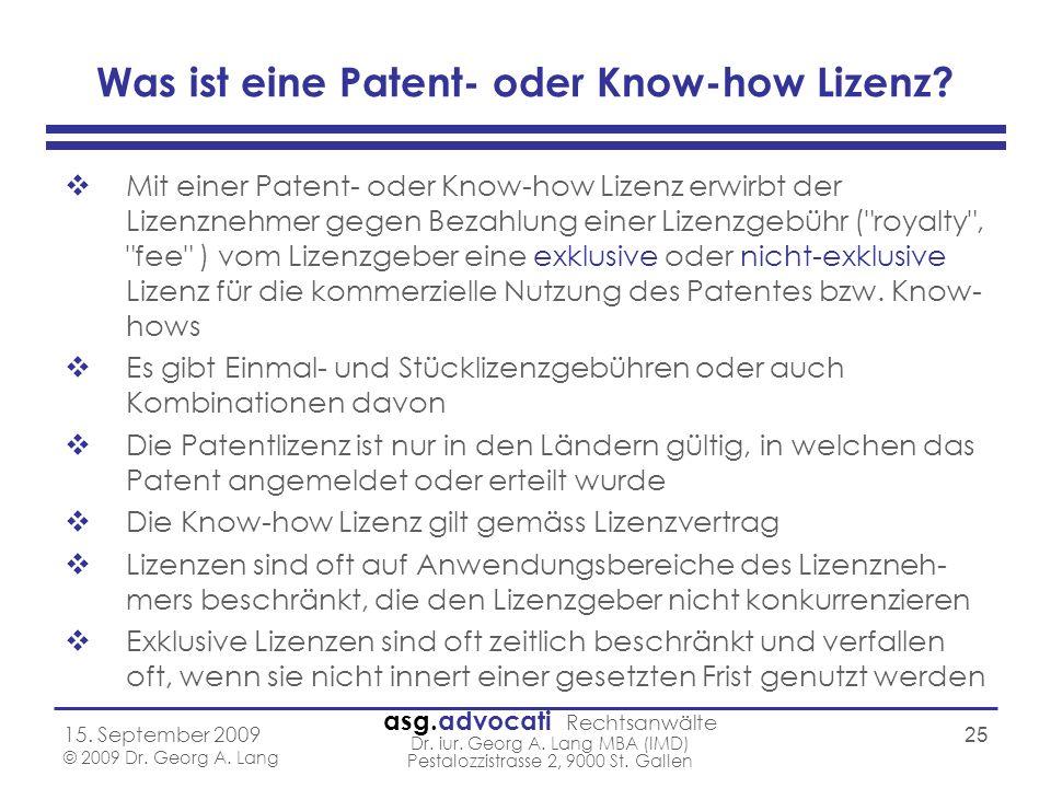 Was ist eine Patent- oder Know-how Lizenz