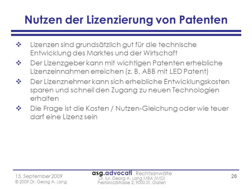 Nutzen der Lizenzierung von Patenten