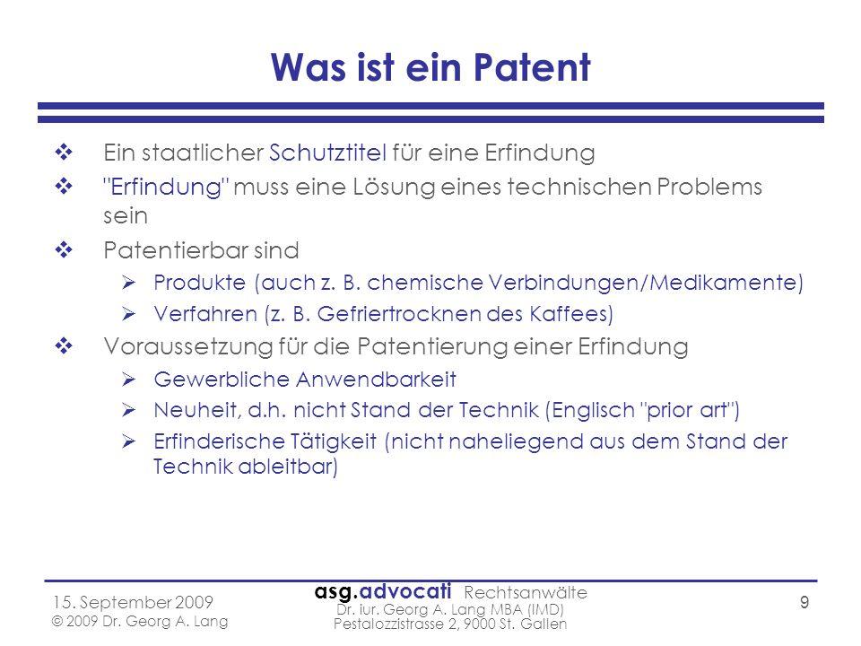 Was ist ein Patent Ein staatlicher Schutztitel für eine Erfindung
