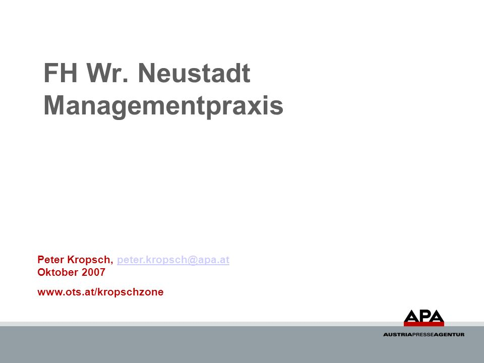 FH Wr. Neustadt Managementpraxis