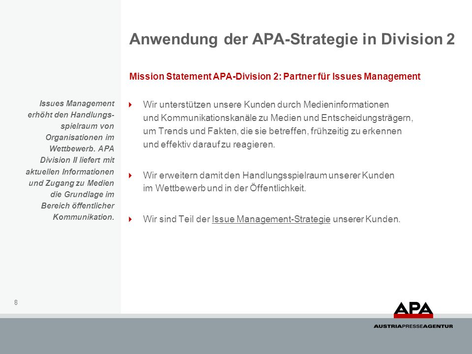 Anwendung der APA-Strategie in Division 2