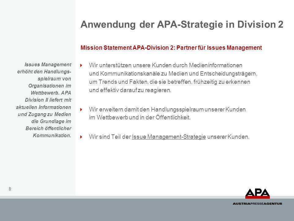 Anwendung der APA-Strategie in Division 2