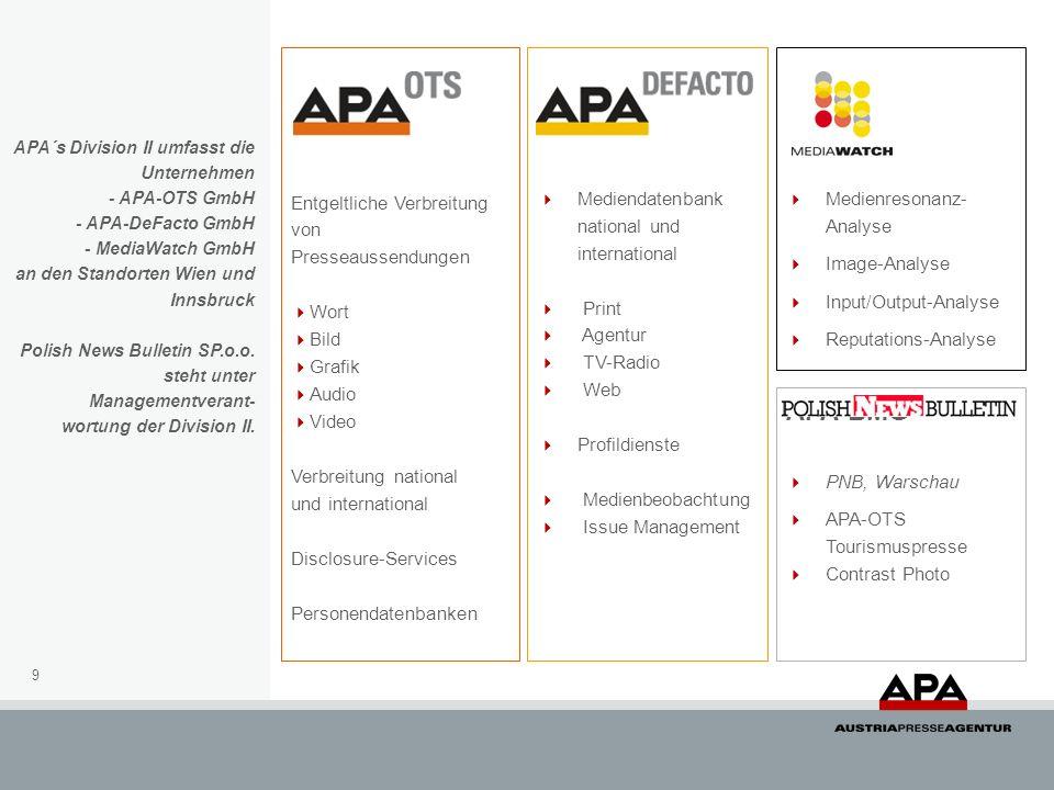 APA-BMG Entgeltliche Verbreitung von Presseaussendungen Wort Bild