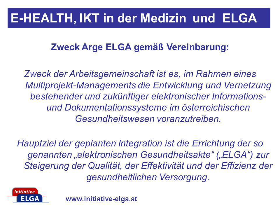 Zweck Arge ELGA gemäß Vereinbarung: